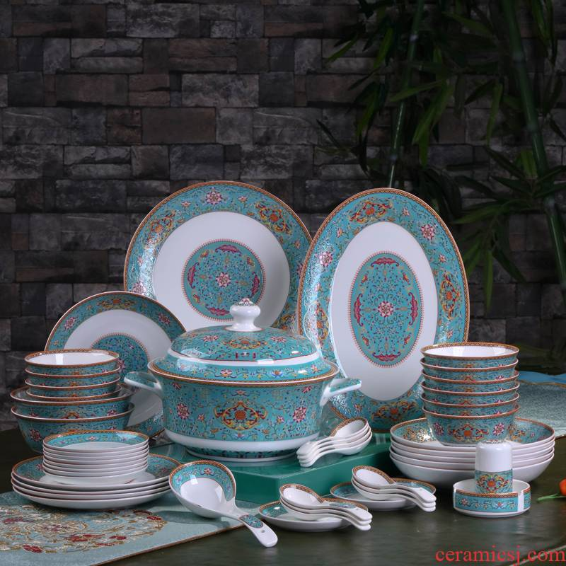 Jingdezhen dishes suit household ipads China tableware to eat tall bowl chopsticks combination colored enamel tableware suit
