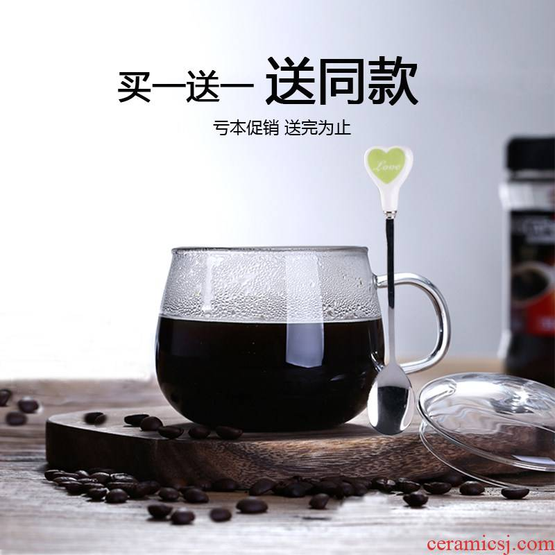 High temperature resistant, the flat - bottomed glass can be heated without cover glass transparent pot - bellied cup of sweet milk cup tea cups