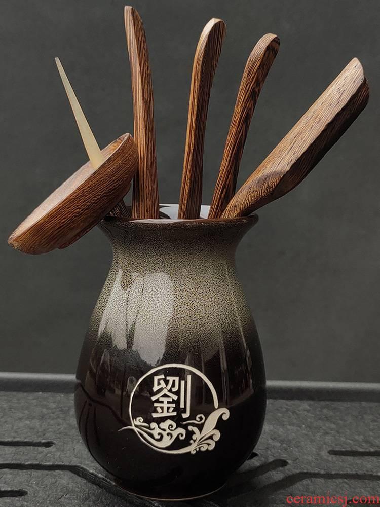 Ebony spend pear wenge wood tea six gentleman kung fu tea accessories 6 gentleman ChaGa tea spoon
