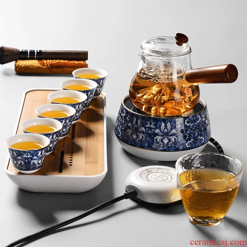 It still fang cooked this teapot tea ware heat - resistant glass tea set steam kettle black tea TaoLu household electric electricity