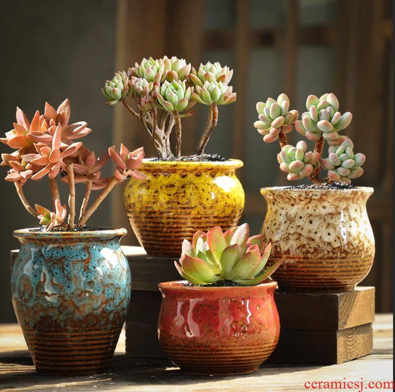 Fleshy creative move coarse pottery flowerpot old running the breathable ceramic large Fleshy plant special offer a clearance in combined packages