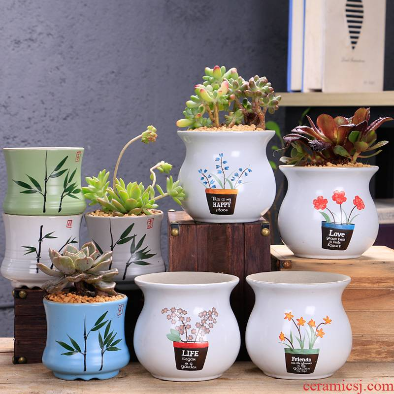 The Fleshy flower pot special offer a clearance of creative move of large diameter coarse pottery breathable large old running the ceramic flesh POTS of the plants