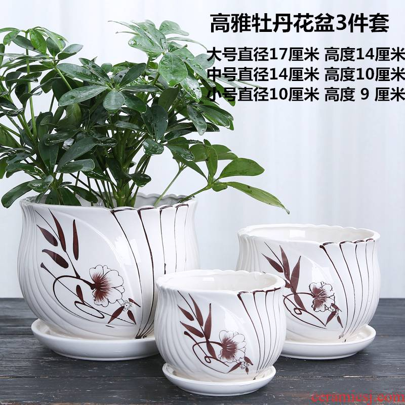 The Fleshy flowerpot ceramics with tray was large special offer a clearance of household plastic interior living room creative money plant