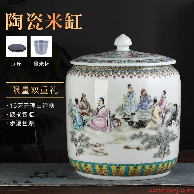 Jingdezhen ceramic barrel ricer box caddy fixings 20 jins 30 jins with cover household moistureproof insect - resistant seal storage tank