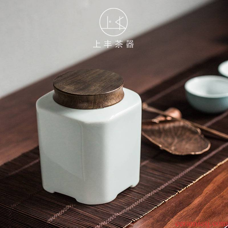 Square ceramic POTS on the an abundant tea caddy fixings Japanese contracted Square seal pot small household porcelain pot