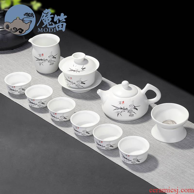 The flute dehua white porcelain household kung fu tea set simple set of ceramic teapot teacup of a complete set of office