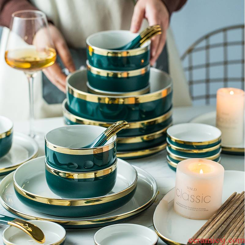 The dishes suit household individuality creative chopsticks to use plate combination light key-2 luxury European - style ceramics tableware suit up phnom penh