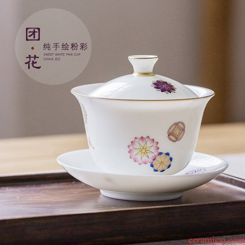 The Escape this hall tureen of pottery and porcelain teacup only three bowls of household suit jingdezhen hand - made pastel kung fu tea tea bowl