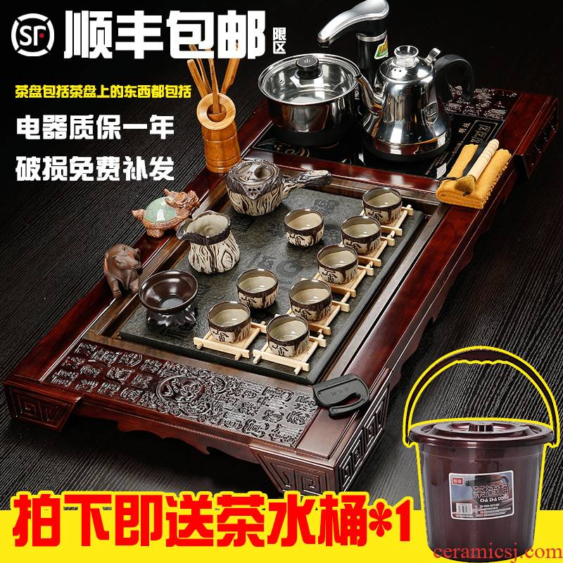Hai make large solid wood contracted household tea tray of a complete set of fully automatic four unity of violet arenaceous kung fu tea set tea taking