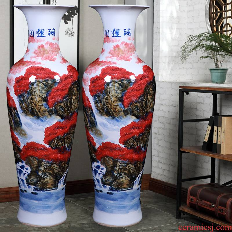 Xu jing, sitting room of large vase of new Chinese style household furnishing articles jingdezhen hand - made large - sized ceramic flower arrangement is a gift