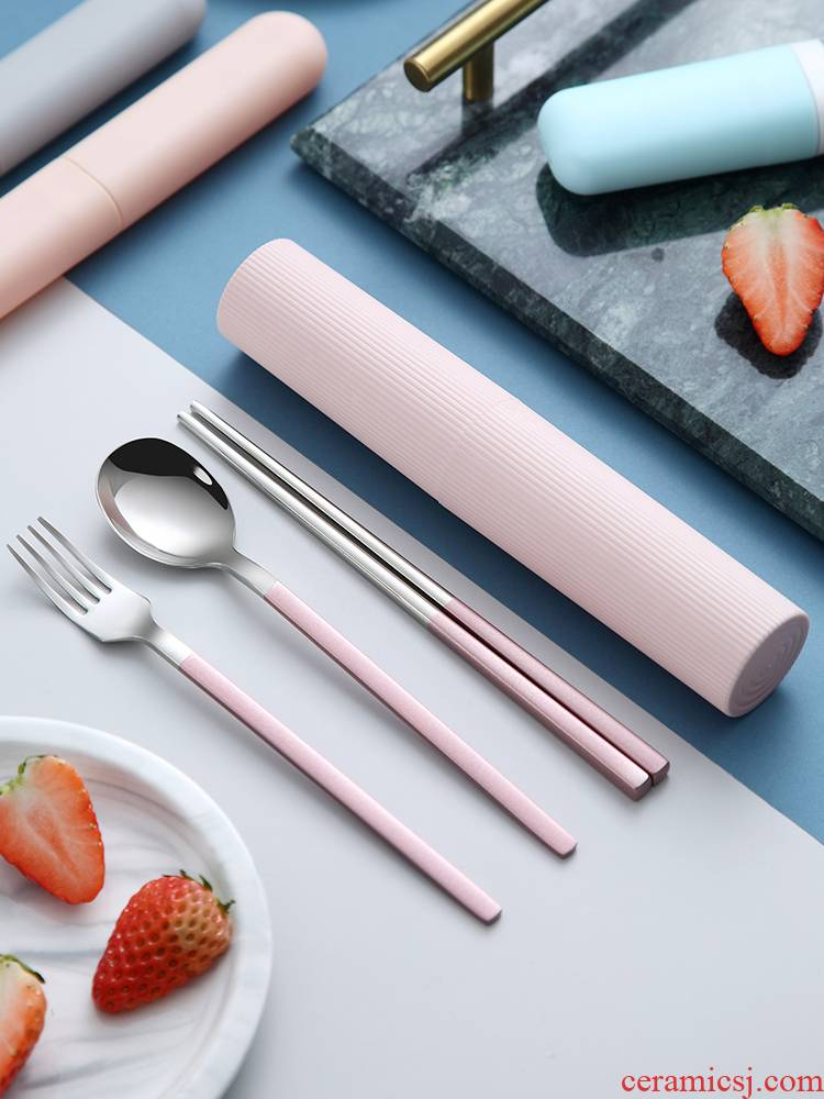 Portable chopsticks spoons three - piece suit tableware use 304 stainless steel fork Korean students express chopsticks box