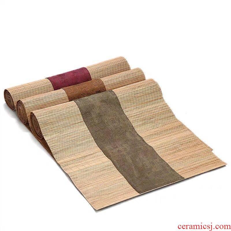 Mat kung fu tea table tea zen tea accessories bamboo cotton cloth art tea table flag hanging dry mercifully bamboo Mat