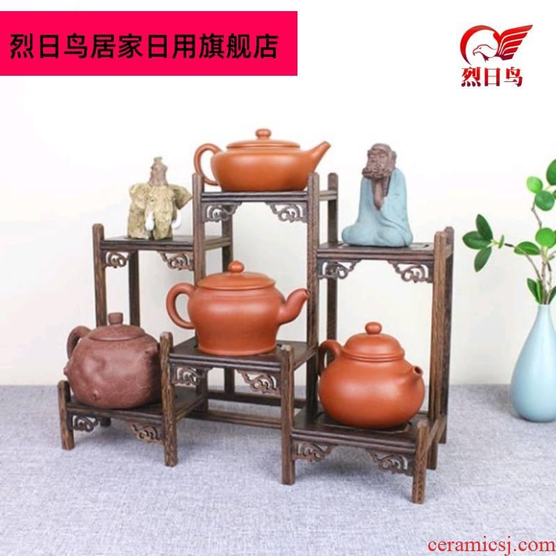 Solid wood tea tea tea cake stand little rich ancient frame cabinet shelf receive shelf region of purple sand teapot tea set