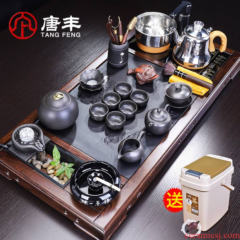 Tang Feng ebony tea set of household solid wood tea tray was water sharply stone tea table 4 and office use