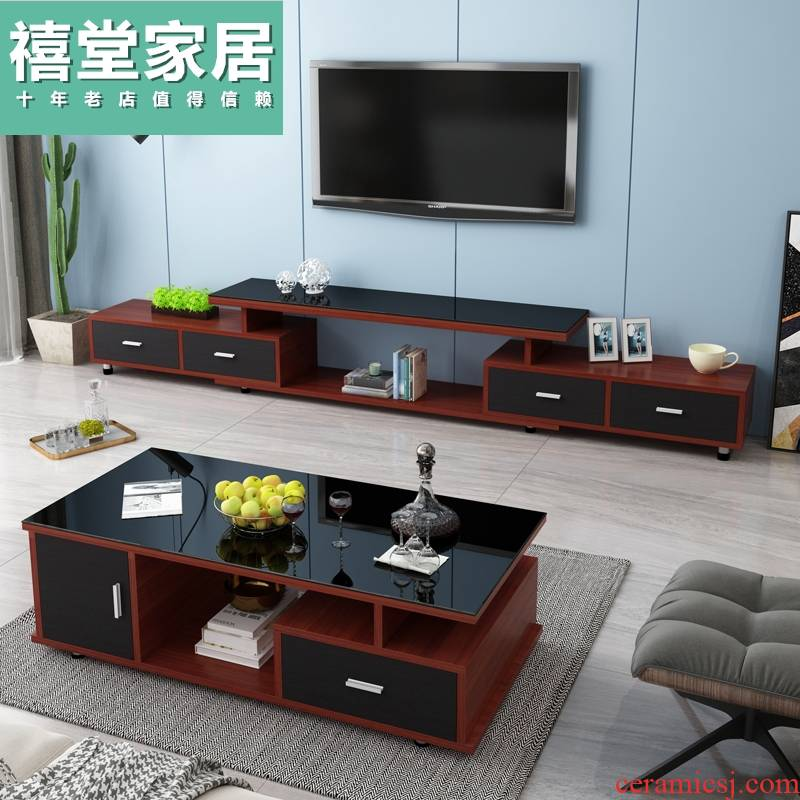 TV ark combination is contracted and I tea table of toughened glass household scale ground ark, small family sitting room TV cabinet