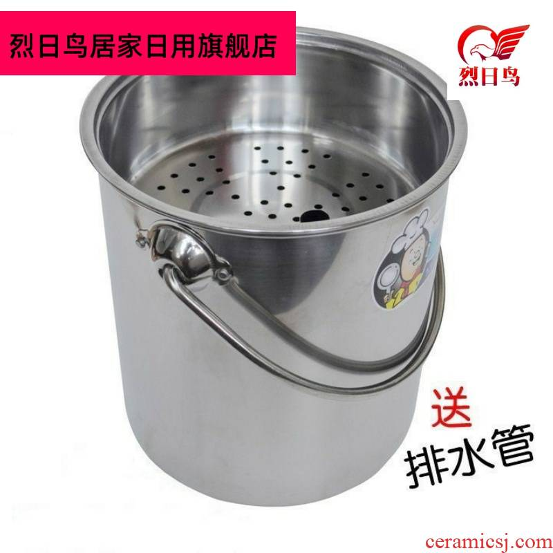 Hot tea barrel barrel row trash can stainless steel bucket detong tea tea tea tray tea accessories bucket