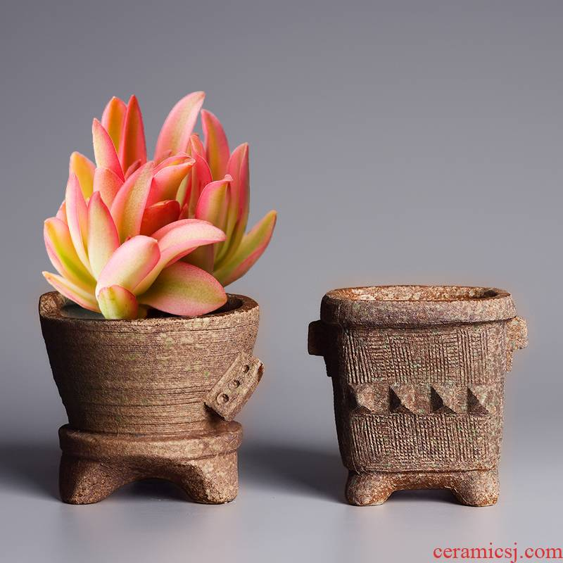 Fleshy flowerpot creative ceramic contracted move desktop, green asparagus pot pot, coarse pottery breathable small clay POTS