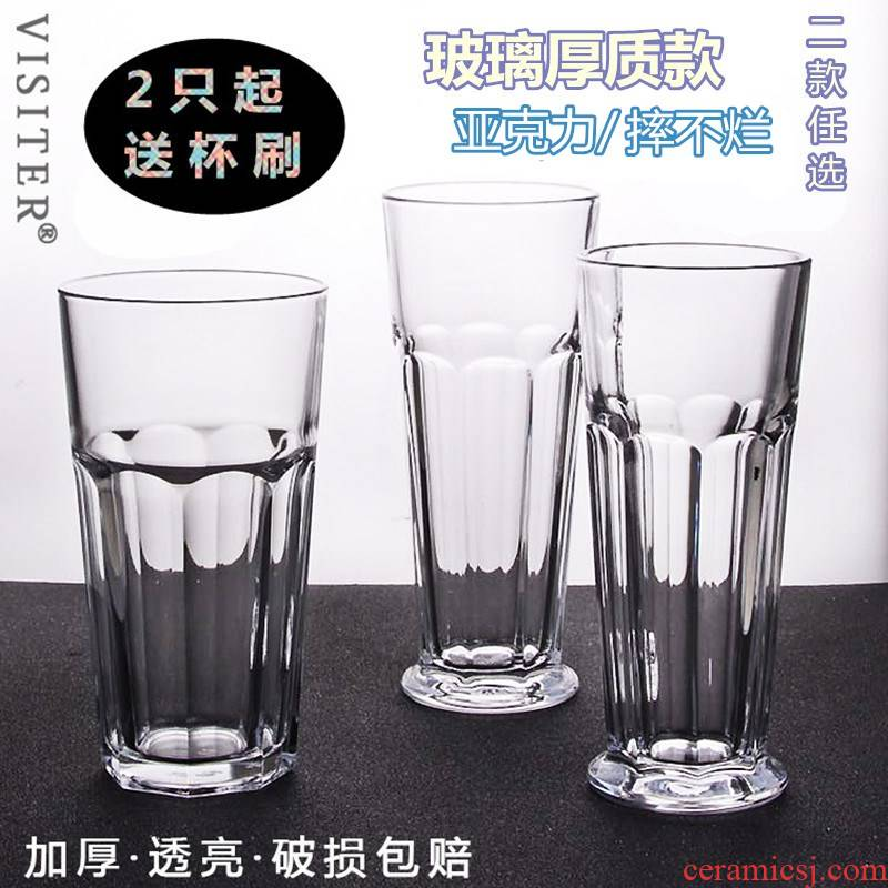 The 700 ml thickening octagon cup Pyrex glass gulp creative drinks milk tea shop fruit tea cups.