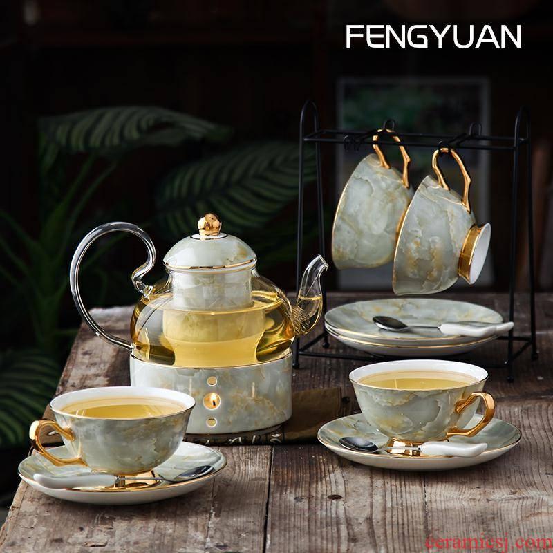 A complete set of herbal tea set household fruit ceramic teapot refractory glass English afternoon tea set tea service