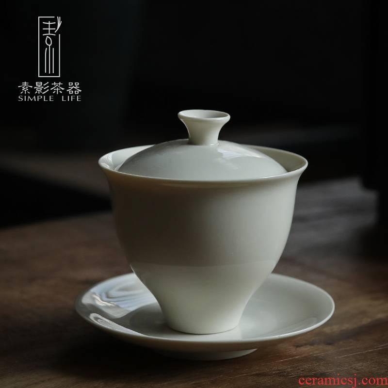 Plain shade plant ash tureen hand made ceramic three Japanese tea cup to finger bowl tea taking zero with tea