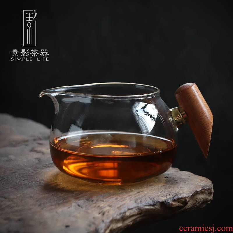 Fair, shadow high - temperature thickening glass cup wood put large household portion male cup tea tea sea kung fu tea set