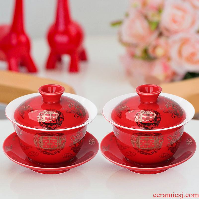 Wedding tea set to Mary tureen a pair of red double happiness three cups tureen pegged question cups supplies