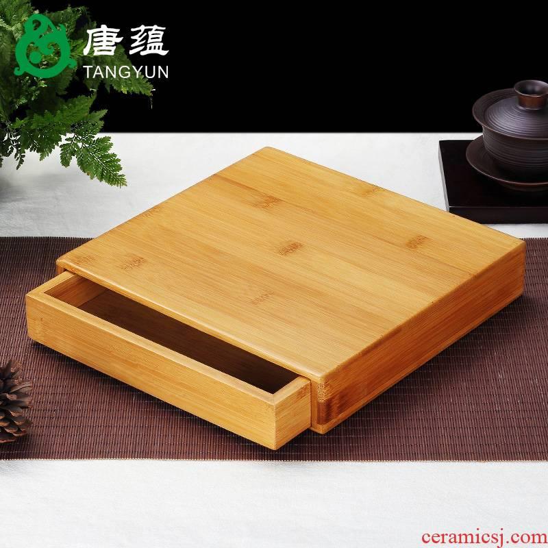 Puer tea box Japanese bamboo kung fu tea tray tea tea accessories opener ChaZhen tea zero with solid wood tea tray