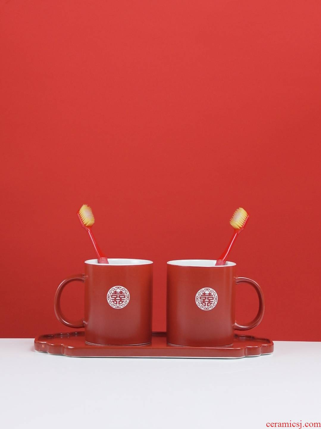 I swim wedding custom ceramic gargle a pair of lovers suit creative YaGang marriage red toothbrush cup