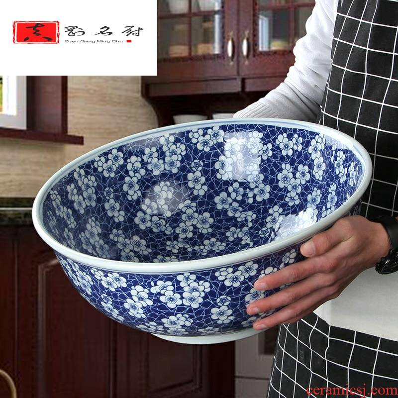 Super large blue and white soup bathtub cubicle ceramic household large bowl of noodles bowl tableware of ltd. fish pickled fish bowl