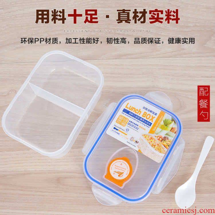 Rushed to the collar workers portioned lunch box microwave tableware transparent plastic lunch box, lovely dining room to the students