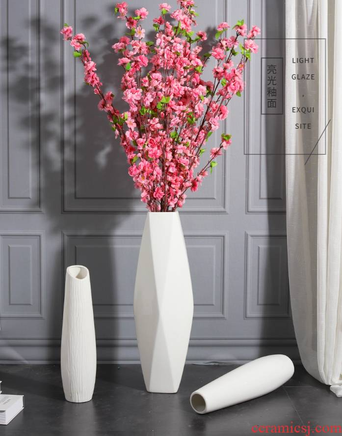 Large sitting room ground ceramic vase furnishing articles dried flowers flower arrangement Nordic creative contracted white modern home decoration