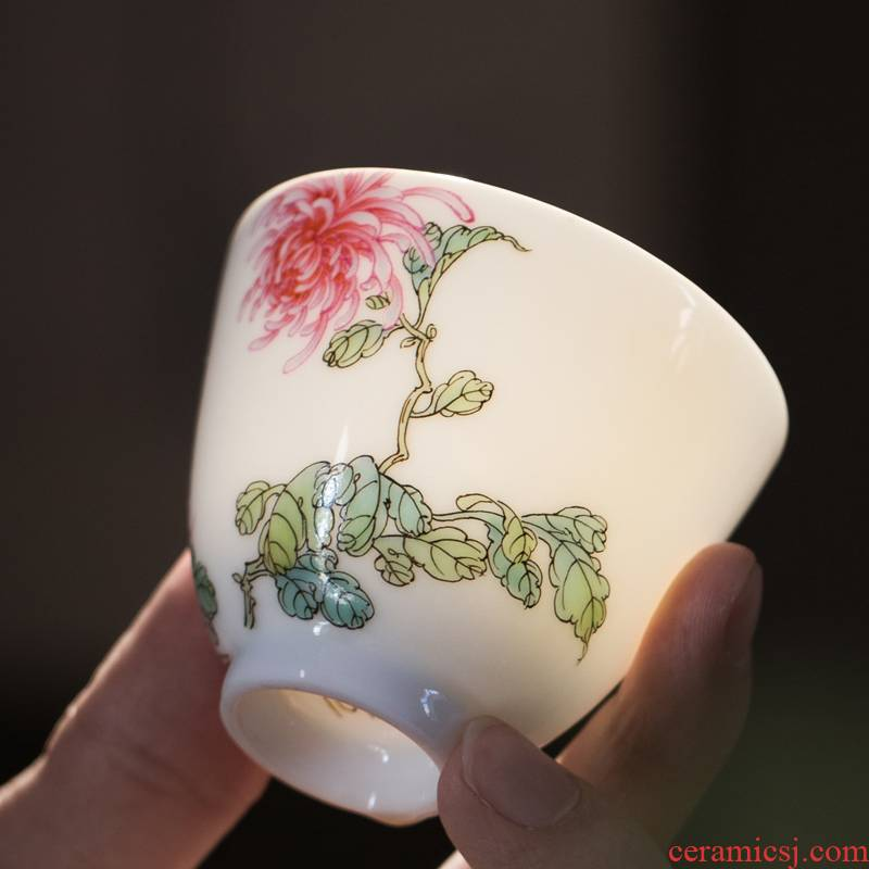 JingJun jingdezhen ceramics masters cup a cup of pure checking sample tea cup kung fu tea cups hand - made teacup