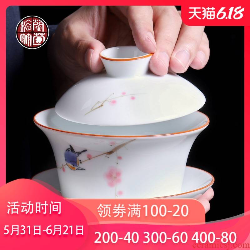 The Heavy tea bowl three tureen large 300 ml Japanese blue and white landscape white porcelain lotus cup hot hand