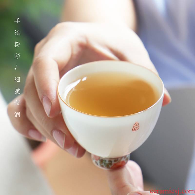 The Escape this hall kung fu teacups hand - made pastel jingdezhen ceramic sample tea cup tea white porcelain cups masters cup