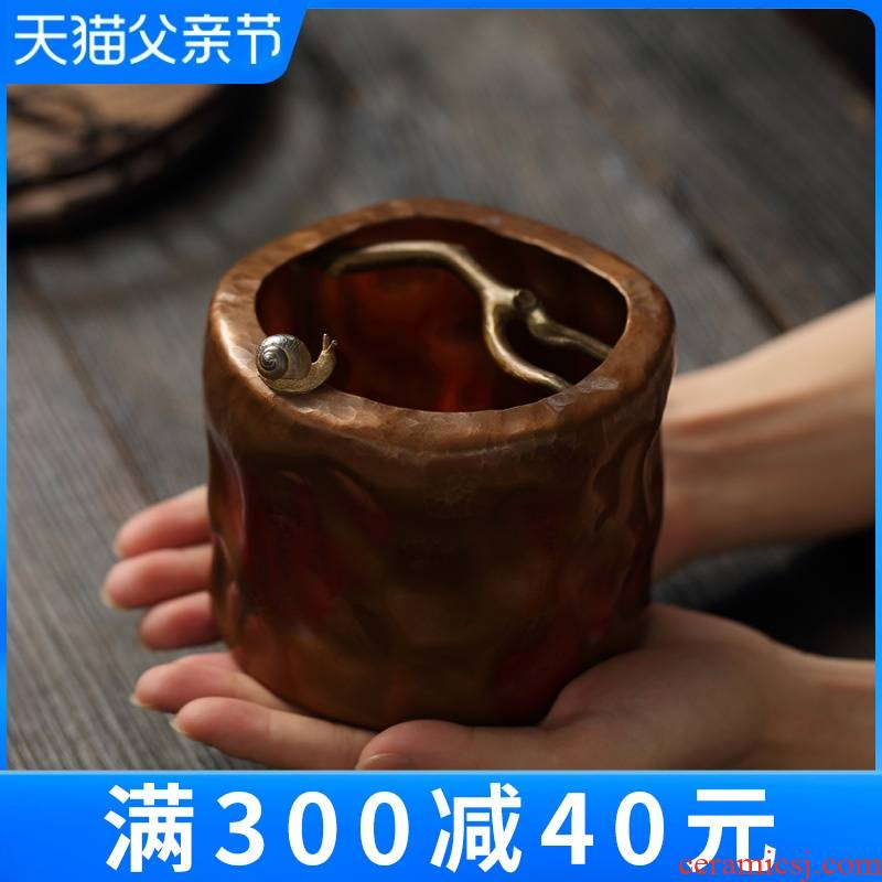 """""""Treasure hall built copper number four cups of tea to wash to the pure copper water tea accessories zen home tea to wash the dishes washed"""