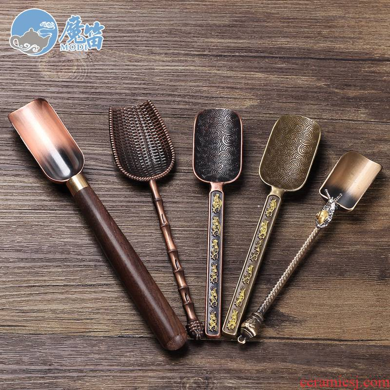 The flute ebony alloy TSP tea run shovel wood, bamboo tea tea, tea spoon, kung fu tea tea accessories
