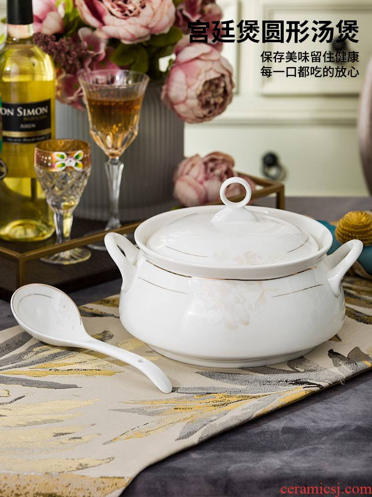 Ceramic with cover court circular soup pot pot soup pot dishes set tableware creative large household large soup bowl