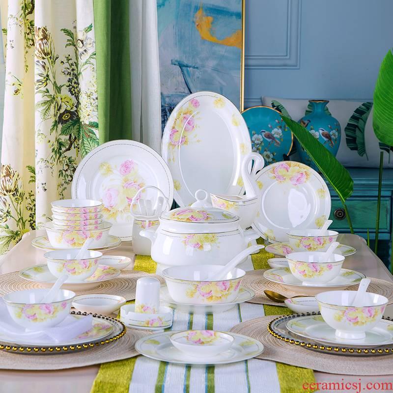 4/6 man Dishes suit household pottery and porcelain bowl plate combination Japanese eat bowl chopsticks jingdezhen ceramic tableware