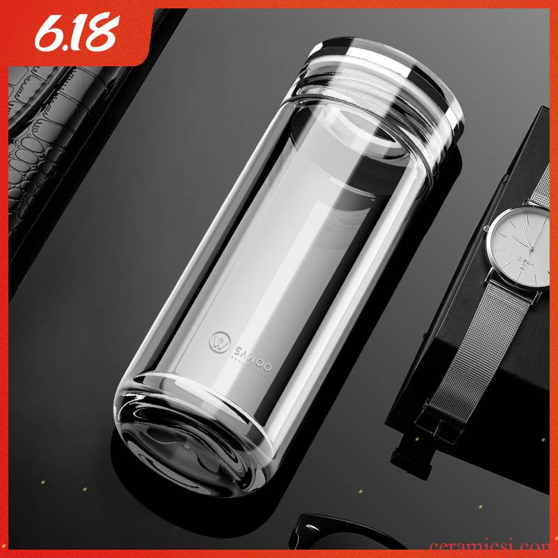Large capacity 500 ml of high - grade male ms single layer heat insulation glass cup car keep - a warm glass tea cup
