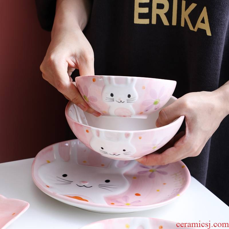 Japanese cartoon tableware suit the little white rabbit with pink lovers tableware household food dish of rice bowls adult web celebrity move