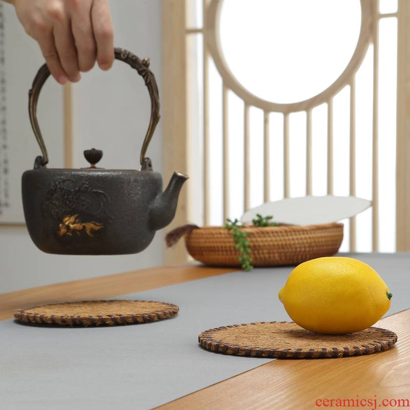 Morning high hand - woven cup mat mat cup teapot the cane top service up a pad insulation pad saucer at kung fu tea accessories