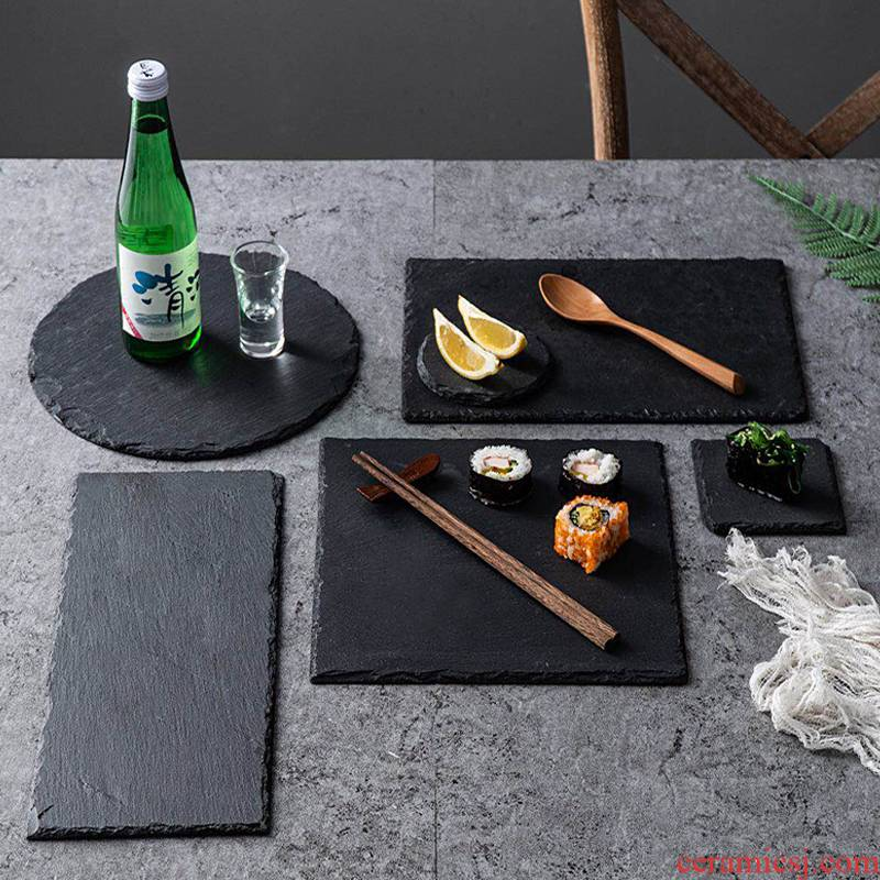Natural black SLATE plate of cheese steak rock SLATE plate plate plate Japanese sushi tableware stone plates
