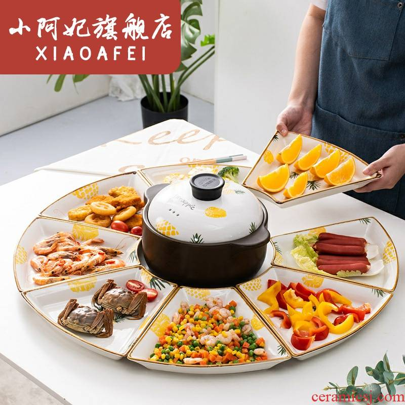 Trill in same table fan in the combination platter tableware suit Spring Festival reunion gifts tableware set tableware