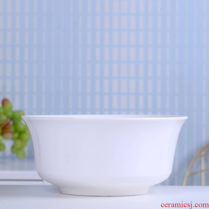 Jingdezhen ceramic large soup bowl white tableware dishes suit pull rainbow such as bowl home a single large bowl dish bowl of rice bowl