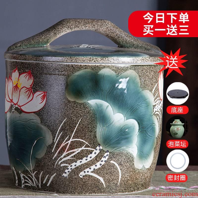 Jingdezhen ceramic barrel tank ricer box 10 jins 20 jins home storage tank with cover the ancient tea pot moistureproof