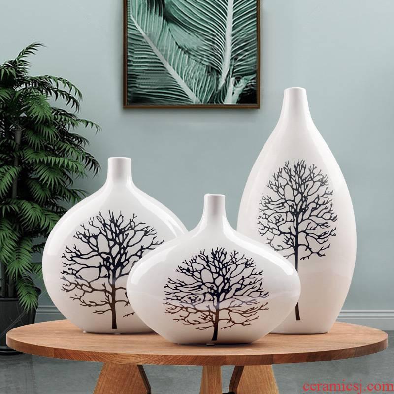 European fashion ceramic three - piece birch vase decoration in modern home decoration flower arrangement sitting room ark, furnishing articles