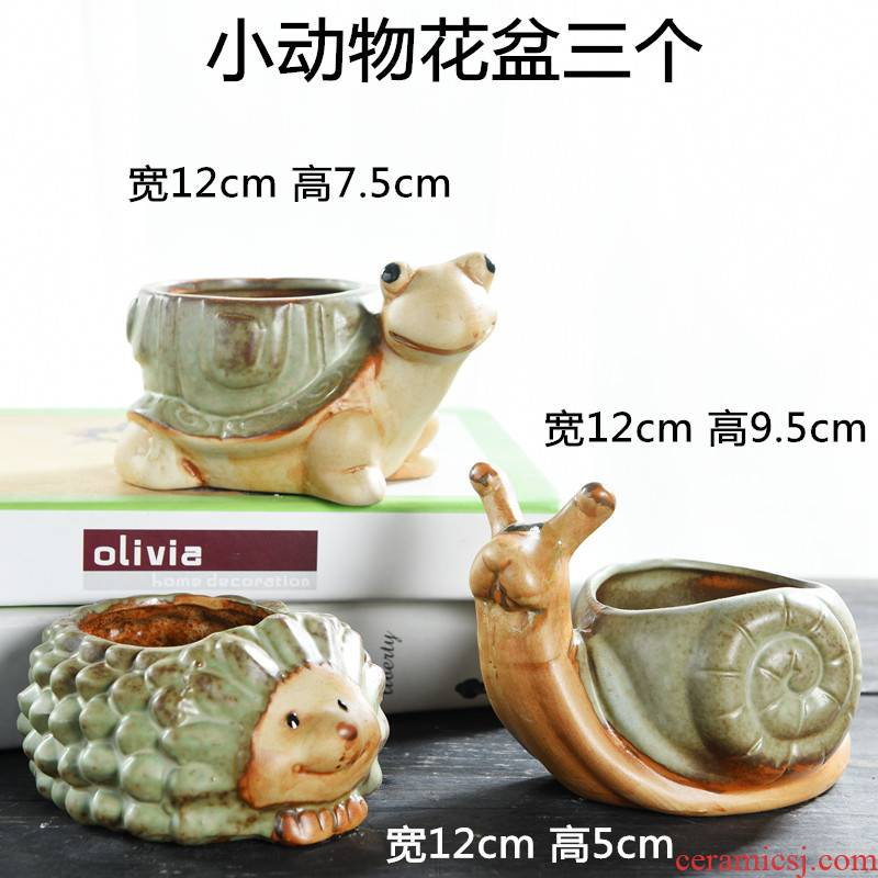 Animal flowerpot creative move coarse pottery breathable meat meat plant special offer a clearance household table of bread mail fleshy flower pot