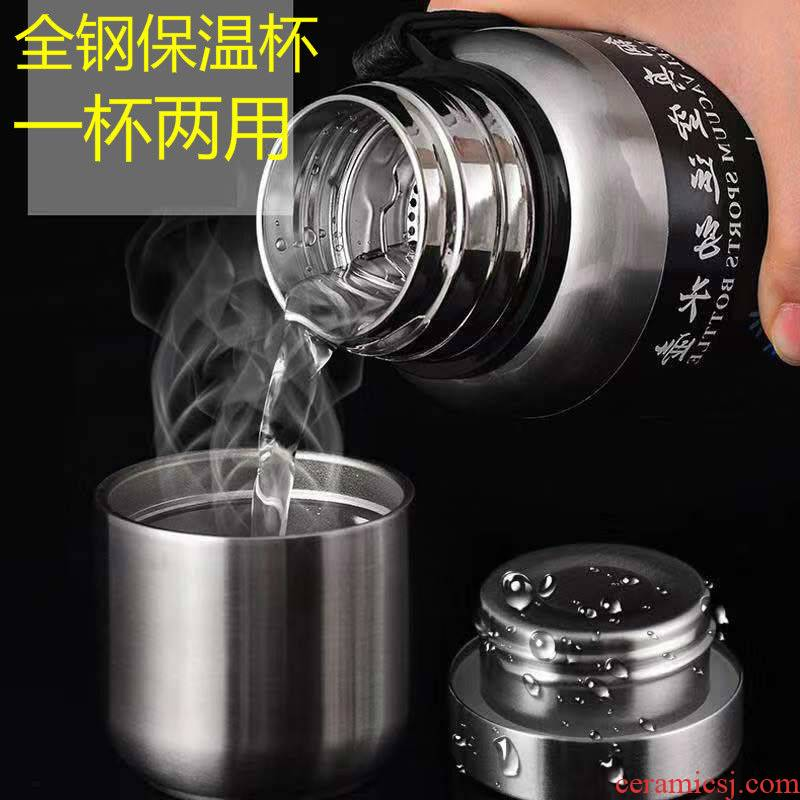 All steel, stainless steel vacuum cup 304 is suing sports bottle is natural man capacity portable tea cup lettering