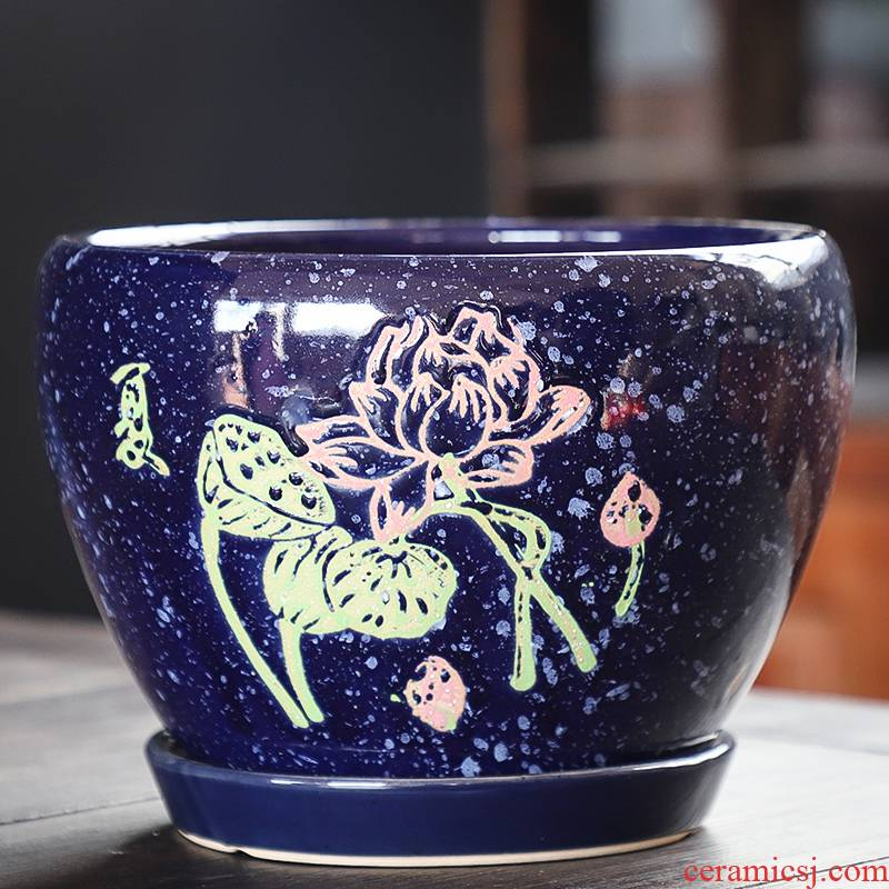Flowerpot ceramic large clearance with extra large tray was special creative Chinese wind, green plant fleshy flower of bracketplant of the basin