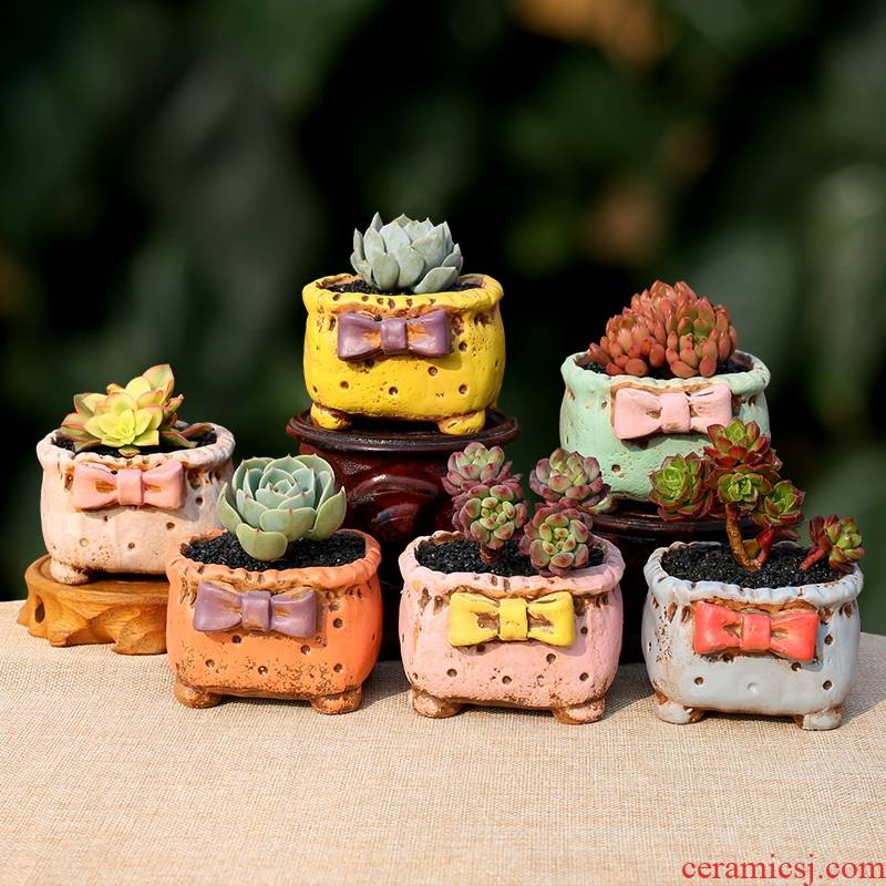 Fleshy flowerpot ceramic creative candy color bow meat meat plant POTS hand - made square flower pot in clay